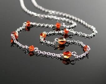 Dainty Orange Crystal Choker Necklace, Sterling Silver, Simple Minimalist Necklace, Orange Swarovski Crystal, Silver Chain Beaded Necklace