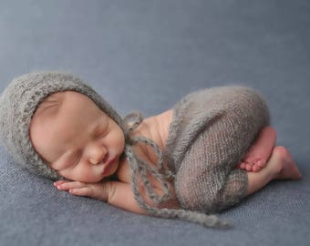 Gray Mohair Pants and Hat Set Newborn Photography