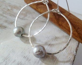 Clearance Silver Pearl hoop earrings. Silver jewelry. Pearl earrings. Silver earrings. Hoop earrings. Christmas gift for her