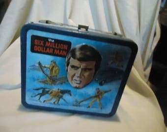 Vintage 1974 Six Million Dollar Man Metal Lunch Box by Aladdin, NO THERMOS,  collectable