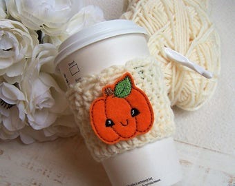 Crochet Coffee Cozy - Pumpkin Cutie