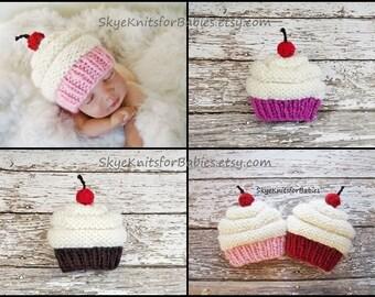 Baby Cupcake Hat, Newborn Cupcake Hat, Knit Cupcake Beanie, Newborn Girl Hat, Newborn Boy Hat, Newborn Outfit, Newborn Photo Prop