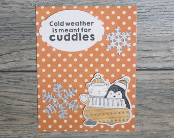Winter is for Cuddles Orange handmade card-CB123117-2