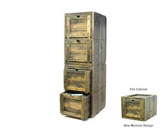File Cabinet, Modular Solid Wood Filing Cabinet, File Organizer, Rustic Storage & Organization, Modular File Storage