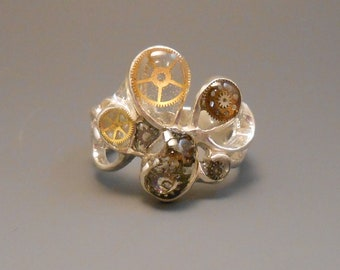 Steampunk Genuine Watch Part Multi Gear Sterling Silver Free Form Ring