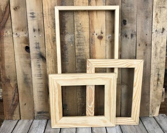 ON SALE - Unpainted Picture Frame Set of 3, Rustic Set, 8x10, 9x12, 12.5x14.5 Photo Frame, Gallery Frame Set, Lot 255