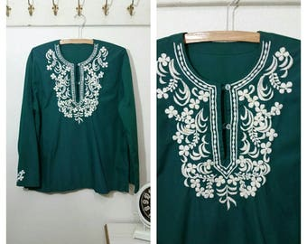 1970's Tunic, Hippie, Boho, Gypsy Tunic, Hunter Green, Size XL