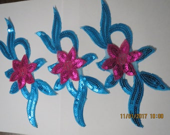 Turquoise and Pink Appliques, Iron on Appliques, Price is for all 3