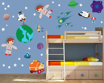 Space Wall Decal, Rocket Wall Decal, Planet Wall Decal Non-toxic REUSABLE Fabric Wall Decals Boy Decal, A240