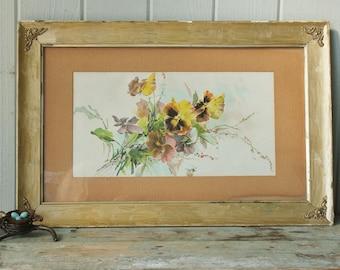 Sweet Vintage Pansy Botanical Print in Gilt Wood Frame