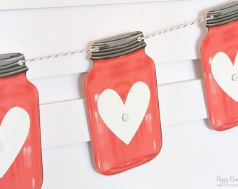 Red Mini Mason Jar Heart Garland : Handcrafted Valentine's Day Decoration | Valentine's Party Decoration | Rustic Mantel Decoration | Heart