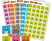 """Sunshine Sticker Bundle - weather planner sticker sheets - square icon stickers 12mm / 0.5"""" - 5 sheets of cat stickers"""