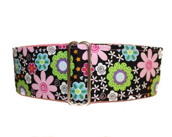 1.5 Inch Martingale Collar, Pink Dog Collar, Floral Martingale Collar, Floral Dog Collar, Pink and Black,  Whippet Collar, Saluki Collar