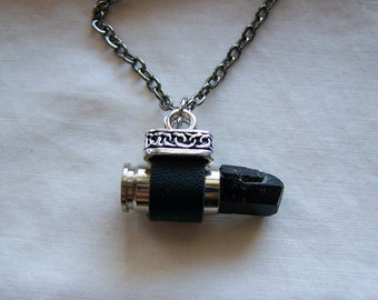 Black Tourmaline Leather Wrapped Silver Bullet Pendant
