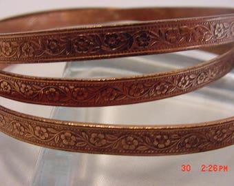 3 Vintage Copper Bangle Bracelets  17 - 726