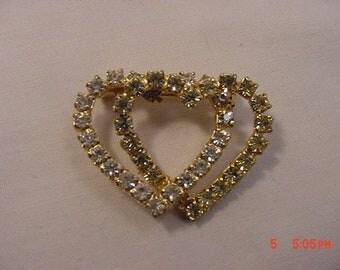 Vintage Rhinestone Double Heart Brooch  18 - 580