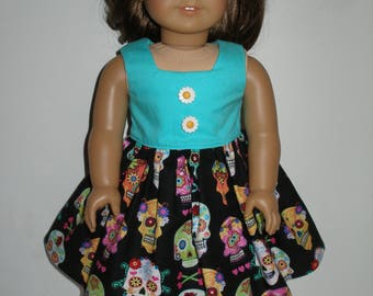 Dress for 18 inch dolls Aqua and Black Sugar Skulls  print with pink glittery shoes