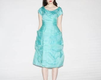 On SALE 35% Off - 50s Turquoise Blue Prom Dress - Vintage 1950s Turquoise Wedding Dress - The Aqua Dream Dress - 9045