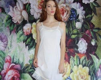 On SALE 40% Off - Vintage 1970s Semi-Sheer Delicate Floral Detail Lingerie Slip Dress - 70s Lingerie Dresses - 70s Clothing - WV0509