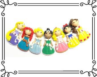 Set of 7 Cold Porcelain Clay Princess Figurines, Bow Center, Pendant, Brooch, Rapunzel, Merida, Cinderella, Tiana, Aurora, Snow White, Belle