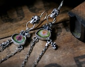 Dia de Muertos Long Earrings - Watermelon Tourmaline Slices - Skull, Succulent, Day of the Dead, Rocker, Mismatched, OOAK, Gifts for Her