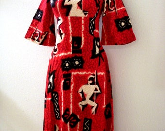 a04fc57694b Vintage 60s RED And Black Hawaiian Maxi Dress With Bell Sleeves By Ui Maikai