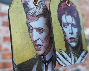 David Bowie hand-painted earrings gold leaf - Thin White Duke Ziggy Stardust