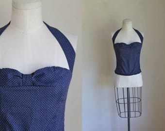 vintage 1960s top - NAVY BOW polka dotted halter top / XS