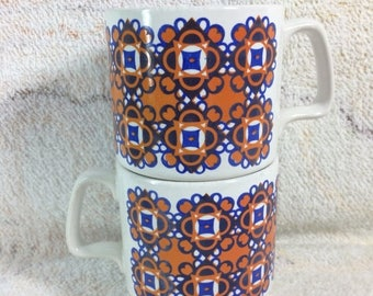 20% SALE Pair of Royal Alma Staffordshire Made in England Mugs 1970s Vintage Ceramic Ironstone