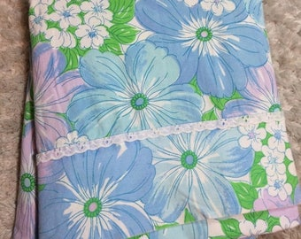 20% SALE Beautiful Wabasso Double Flat Sheet in Blue and Purple Floral Colorway Vintage 1970s Retro Bedding 100 Percent Cotton Flower Power