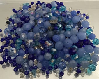 Mix Lot Loose Beads Stone Faceted Glass Acrylic Lapis Chips Detached Craft Supply Assorted Bulk Batch Jewelry