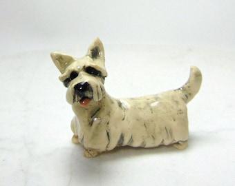 Scottish Terrier Miniature - Scottie Dog - Terrarium Miniature - Dog Figurine - White  Scottie  - Ceramic Figurine - Pottery Animal