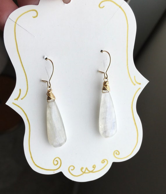 Rainbow Moonstone Drop Earrings Gold