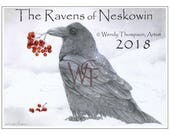 2018 CALENDAR - The Ravens of Neskowin - Original raven art, sun moon, solar eclipse, Ray-Vaughan, kingfisher crow, colored pencil gaphite.