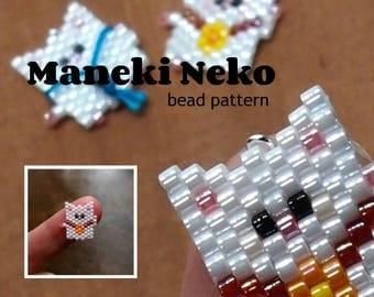Maneki Neko Japanese Good Luck Beckoning Cat Bead PATTERN
