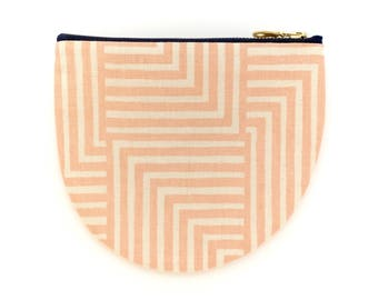Large Round Pouch - Geometric Modern Zip Wallet