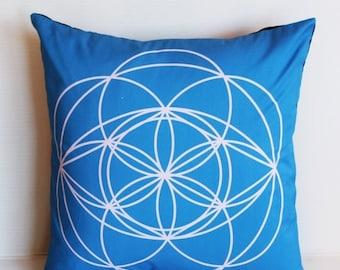 SALE SALE SALE Square blue cushion cover eco friendly organic cotton throw cushion, geo print 01