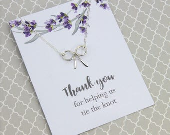 "Bridal Jewelry Gift, Silver or Gold Ribbon Necklace, Bridal Wedding Gift, "" Thank you for helping us tie the knot"" Message card Jewelry"