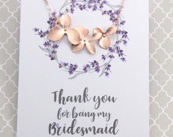 Bridesmaids Flower Necklace Gift, Rose Gold Orchid Flower Necklace, Wedding Necklace Gift, Avail. in Silver and Gold