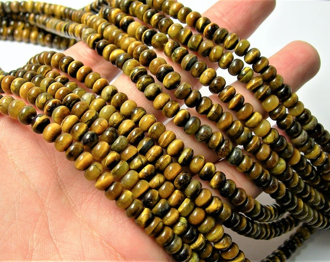 Tiger eyes - 6 mm rondelle beads - full strand - 98 beads - 6mm x 4mm  Yellow tiger eyes - RFG1459