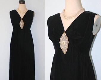SALE 1950s Black Velvet Party Dress . Vintage Long Maxi Velvet Holiday Formal Evening Dress & Beads . Audrey Hepburn . Size Small