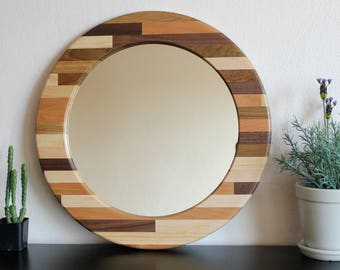 17 mixed 6 wood mirror classic mid century modern style design round - Mirror Wood Frame