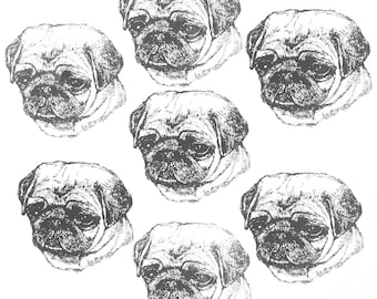 PUG PUPPY Dog Fabric Any Color All Cotton Hot Diggity Dog Novelty Fabric + more