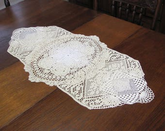 Vintage Hand Crafted Doily Table Runner Dresser Scarf Assemblage Centerpiece