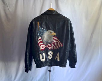 Vintage USA Bald Eagle Set Before Old Glory Black Leather Jacket by Lucky Leather Size Large