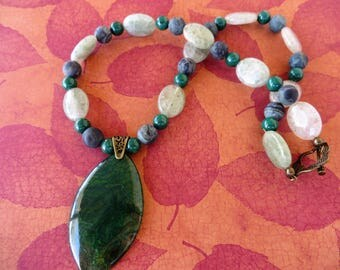 Kambaba Jasper And Prehnite Beaded Necklace With Marquise Agate Pendant