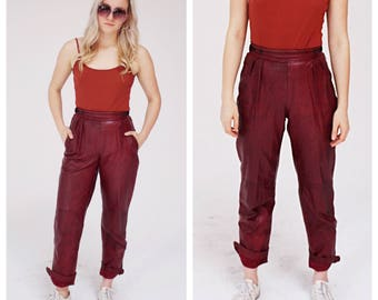 Cranberry Red High Waist Leather Pants- XS, 25, Crimson, Oxblood,
