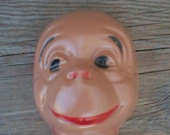 Rare Brown Thin Plastic Celluloid Style Monkey/Gorilla Face