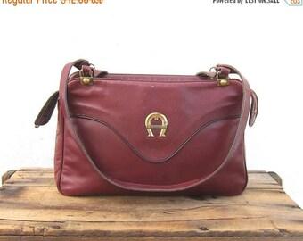 SALE SALE Vintage Distressed Wine Leather Medium Tote Bag By Etienne Aigner