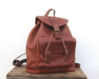 SALE 90s Rucksack Backpack Large Rugged Tan Leather Travel Hippy Boho Bag